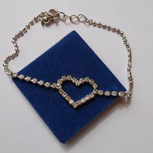 Bracelet sparkling chain with rhinestone heart NIB